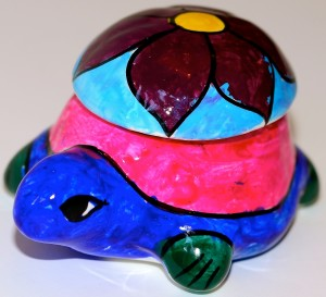 When we where in Mexico I made this turtle out of clay.